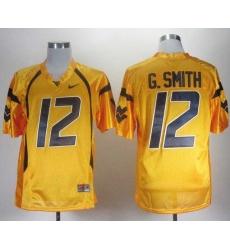 NCAA West Virginia Mountaineers Geno Smith 12 Gold College Football Jerseys